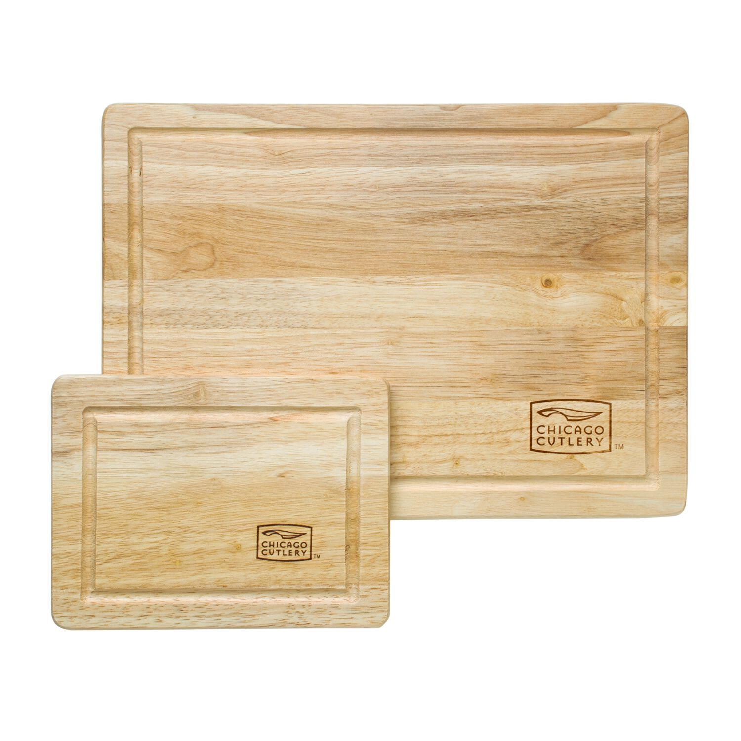 Chicago Cutlery® Woodworks™ Rubberwood 2-Pc Cutting Board Set