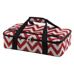 """Home Essentials 16"""" Rectangle Casserole Carrier, Red & White"""