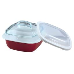 Bake, Serve, Store™ Red 1.5 Quart Square Baker w/ Lids