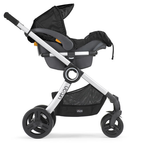 Chicco Urban 6-in-1 Modular Stroller in front-facing KeyFit 30 Infant Car Seat Carrier Mode
