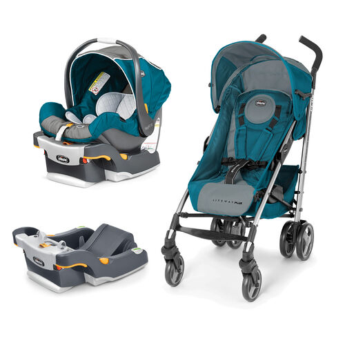 Chicco KeyFit 30 Infant Car Seat and Liteway Plus Stroller Bundle with Free Extra Car Seat Base in gray and teal - polaris