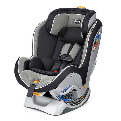 Chicco NextFit Convertible Car Seat in sleek black and gray textured fabric with white piping - Intrigue