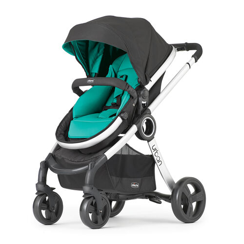 Chicco Urban 6-in-1 Modular Stroller in a dark gray and teal color called Emerald