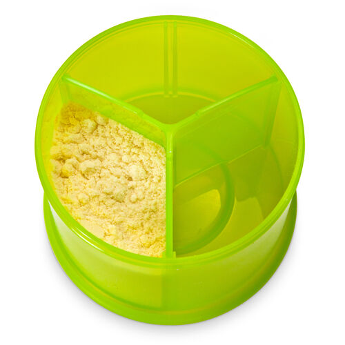 Removable divider lets you portion powdered formula
