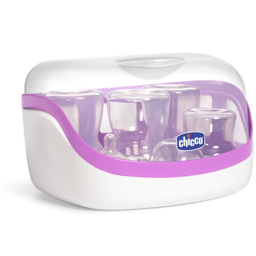 Sanitize baby bottles, pacifiers, teethers, and more with the NaturalFit Microwave Steam Sterilizer