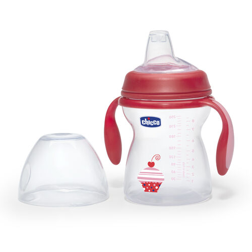 Chicco NaturalFit 8oz Red Transition Cup and Lid