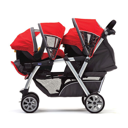 The Cortina Together Double Stroller is perfect for twins with the ability to hold two KeyFit 30 Infant Car Seats