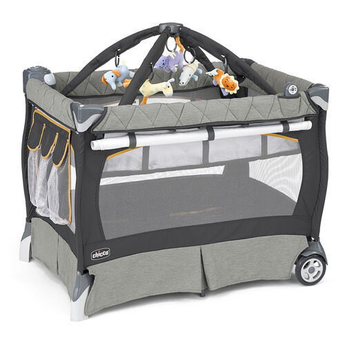 Chicco Lullaby LX Playard in dark gray and light heather gray with yellow accents - Sedona