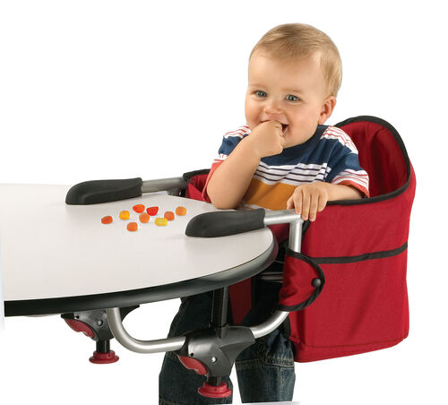 The Chicco Caddy Hook-On Chair can be set up easily for a quick snack on the go