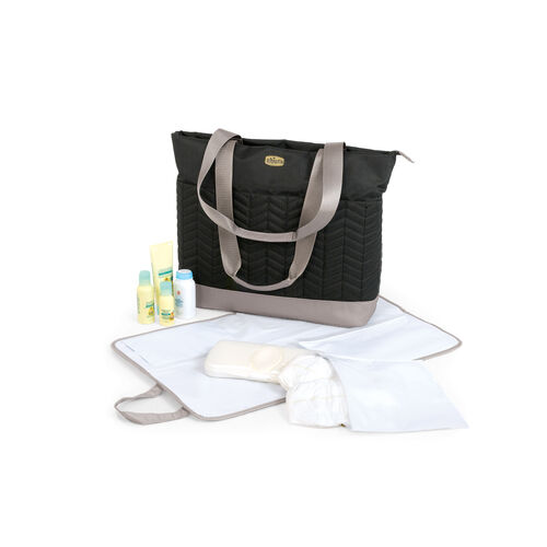 "The Chevron Tote Bag diaper bag has enough room for everything you need for baby when you're away from home. Includes a changing mat and separate ""messy bag"""