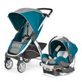 Chicco Bravo Trio System with Bravo Stroller and KeyFit 30 Infant Car Seat and Base in teal and gray Polaris style