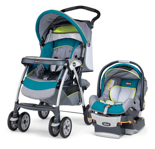 Chicco Cortina SE Travel System - bright aqua with gray patterned fabric and lime green accents in a style called Cadiz