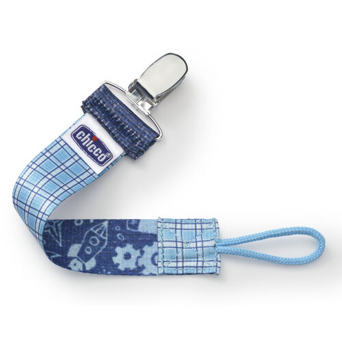 Chicco NaturalFit Fabric Pacifier Clip - Cyan Gingham Plaid