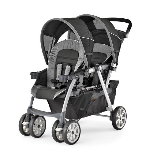 Chicco Cortina Together Double Stroller in black gray and silver Avena fashion