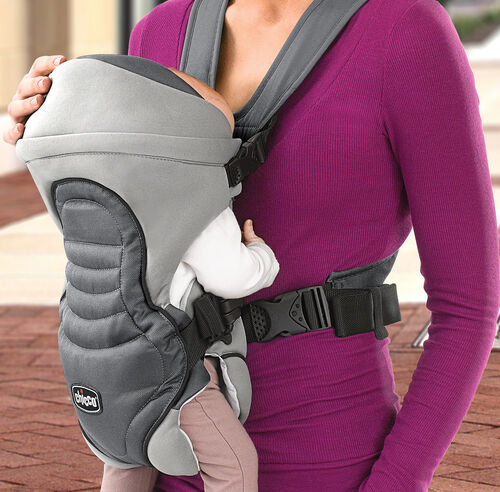 The Coda Carrier's zip-on hood protects baby's head and keeps in warmth