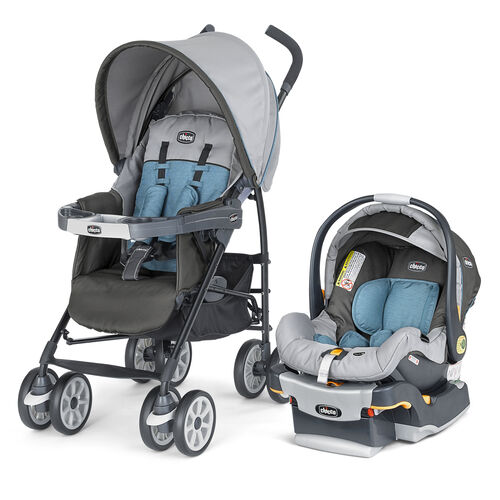 Chicco Nuevo Travel System in dark and light gray with light blue accents - Vapor