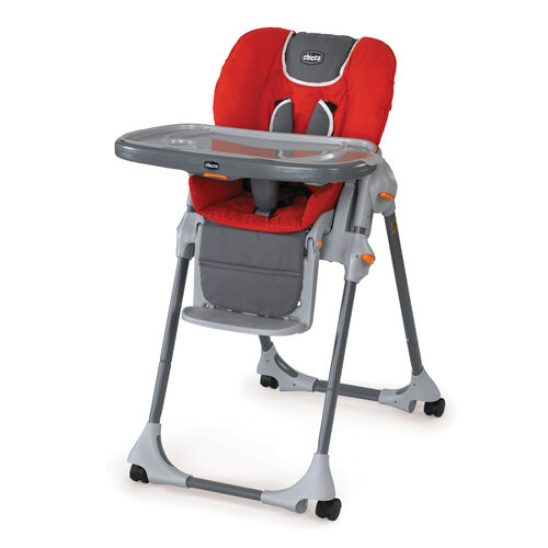 Chicco Polly Highchair in bright red with gray accents - Fuego