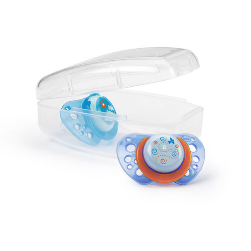 Chicco NaturalFit Flair 4M+ Pacifiers come in a convenient sterilizable case