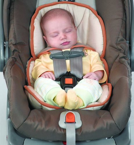 support baby's head and neck with extra padding using the newborn insert for your KeyFit 30 Infant Car Seat