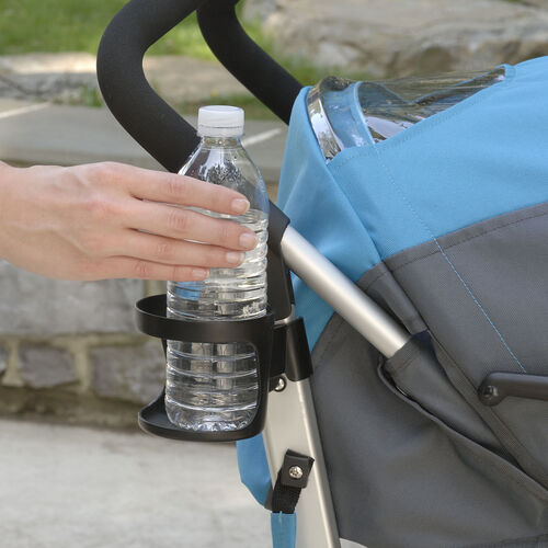 A detachable cupholder holds a drink for mom or dad while they push baby in the Liteway Plus Stroller