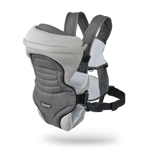 Front view of the Chicco Coda Baby Infant Carrier in gray Graphite