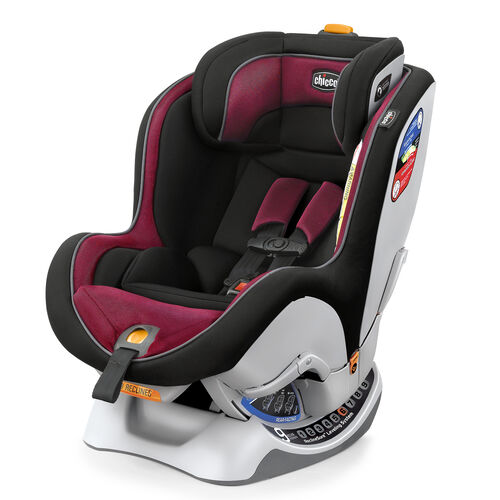 Chicco NextFit Convertible Car Seat in deep fuchsia, dark pink and black - Saffron color