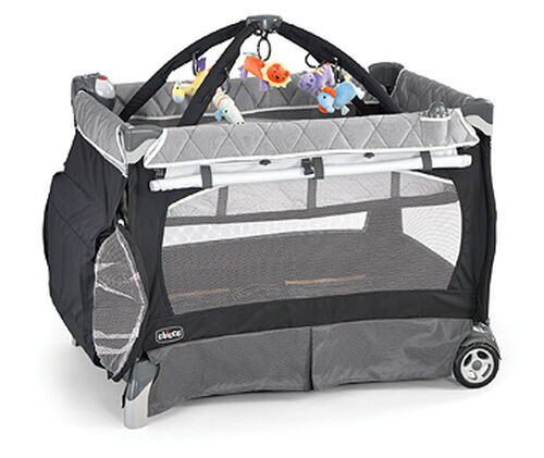 Chicco Lullaby Playard in dark and light charcoal gray with white border accents - Graphica style