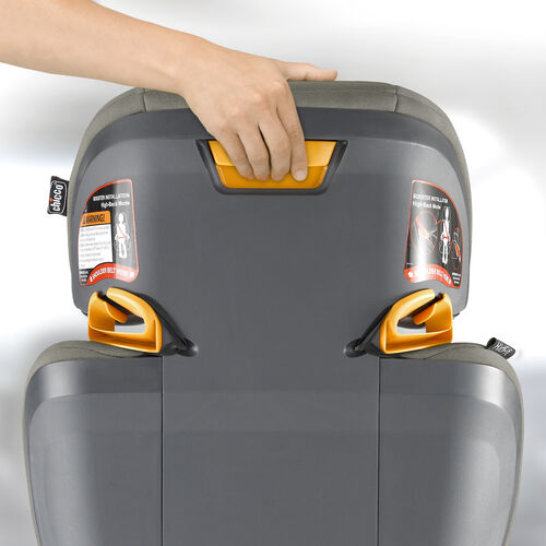 Easily adjust the headrest height with the button located in the back of the booster car seat