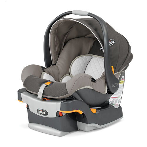 Chicco KeyFit 30 Infant Car Seat and base in soothing neutral beige-tan fabric with natural line details in Papyrus style