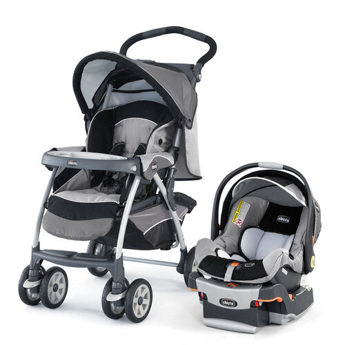 Chicco Cortina Stroller and KeyFit 30 Infant Car Seat and Base Travel System in dark gray and light grey - Graphica