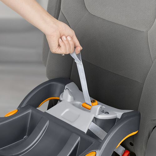 The KeyFit 30 car seat base can be installed easily SuperCinch LATCH strap tightener
