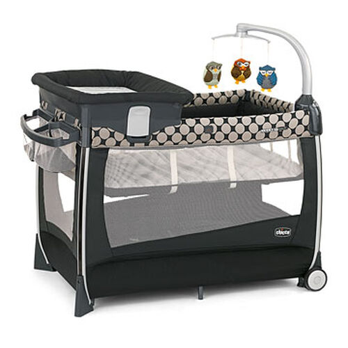 Chicco Lullaby Magic Playard in black with Khaki circle pattern - Solare