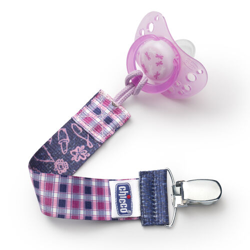 The NaturalFit Pacifier Clip fits most pacifiers