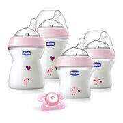 The deco gift set by Naturalfit includes 4 decorated bottles and 1 pink pacifier