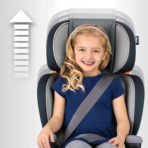 The headrest of the KidFit Zip booster car seat features 10 height position for growing children