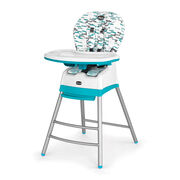 Chicco Stack 3-in-1 Highchair in patterned gray and aqua blue