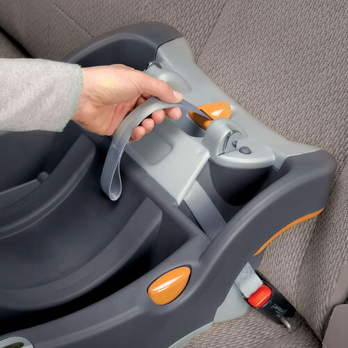 Firmly pull the LATCH pull strap to quickly secure the KeyFit 30 car seat base in your car
