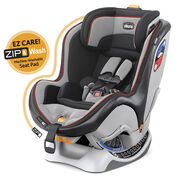 Chicco NextFit Zip Convertible Car Seat in dark gray with light grey textured fabric and brick red piping - Palisade