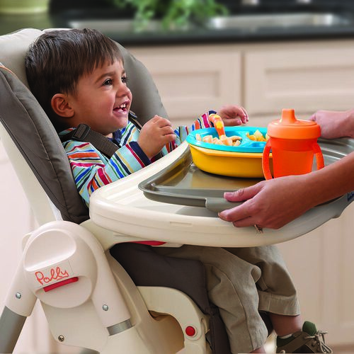 The Polly Highchair tray insert is removable and can go in the dishwasher for easy cleanup