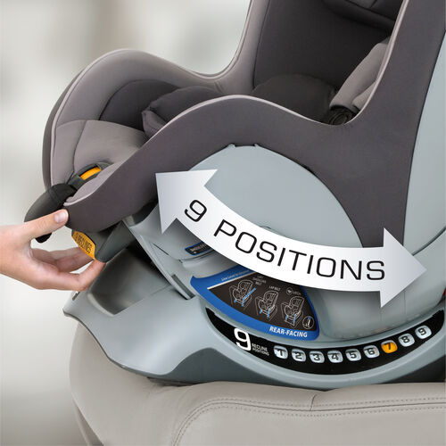 The NextFit Convertible Car Seat has nine recline position options - more than any other convertible car seat