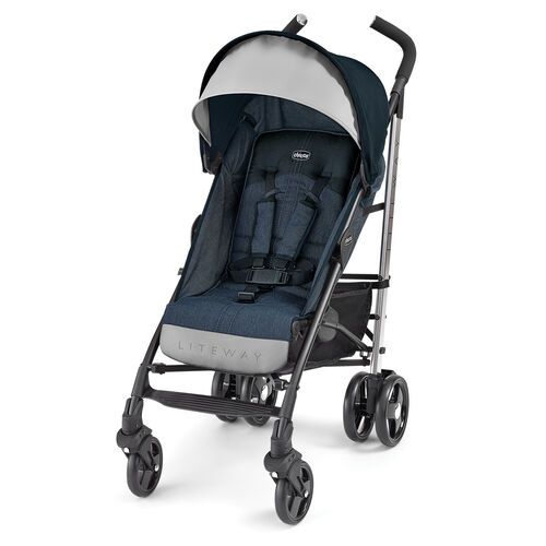 Travel light and in style with the Chicco Liteway Denim Stroller