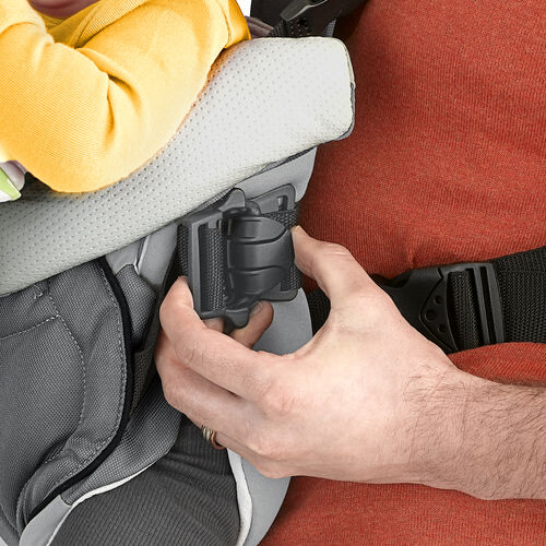 Clips on the sides of the Coda Carrier open completely so you can easily situate baby in the carrier