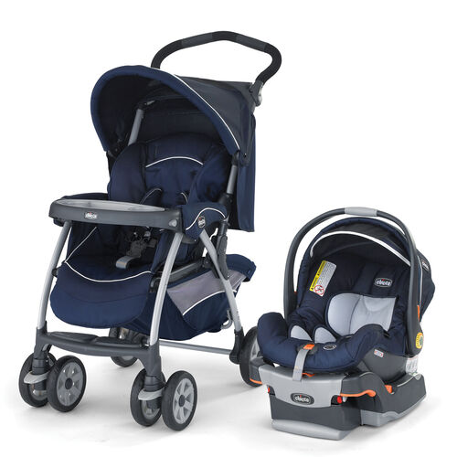 Navy blue Chicco Cortina Stroller and KeyFit 30 Infant Car Seat and Base - Pegaso Style