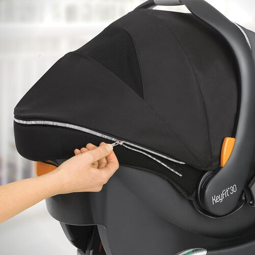 the KeyFit 30 Zip Infant Car Seat has a zip-off canopy