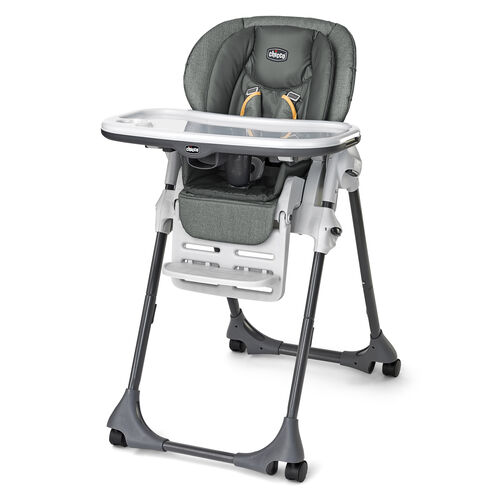 Chicco Polly Highchair - Metallic gray with yellow accents - Sedona