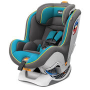 Chicco NextFit CX Convertible Car Seat in bright blue and gray with lime green accents and piping - Skylight