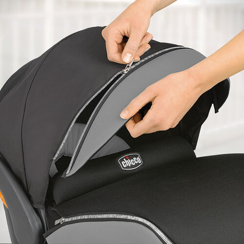 Extend the car seat canopy reach with a zip-on visor