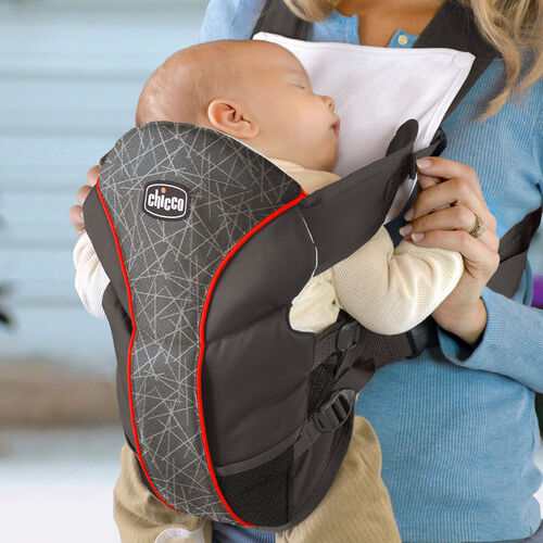 Baby can sleep in the UltraSoft Carrier without worry of getting drool on mom or dad's clothes with the washable bib