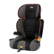 Chicco KidFit 2-in-1 Belt Positioning Booster Car Seat in sleek black with patterned light and dark gray fabric accents and red-orange piping - Atmosphere