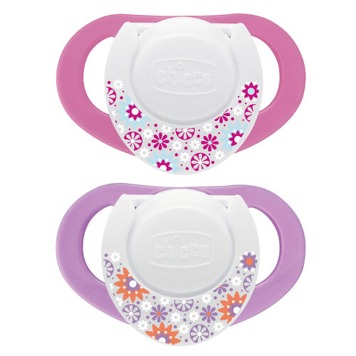 Chicco NaturalFit Deco 4M+ Orthodontic Pacifiers - pink and purple with flower pattern